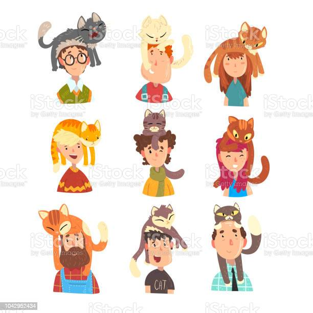 People with funny cats sitting on their heads set adorable pets and vector id1042952434?b=1&k=6&m=1042952434&s=612x612&h=korubbte bngpp2u0xh6fsljunvdd b0am9e52cvnj4=