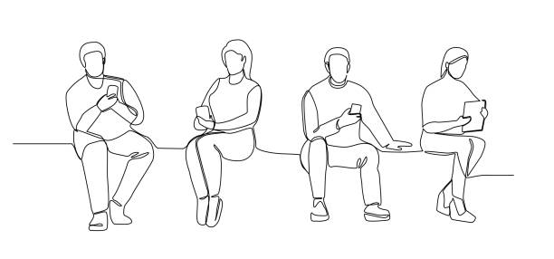 People with Gadgets Continuous Line Art. Man and Woman Using Smartphones One Line Silhouette. Mobile Technologies. Vector illustration People with Gadgets Continuous Line Art. Man and Woman Using Smartphones One Line Silhouette. Mobile Technologies. Vector illustration contour line stock illustrations