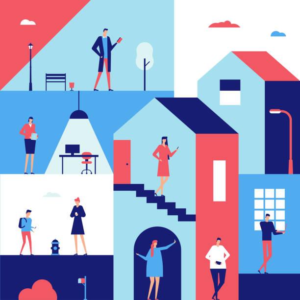 ilustrações, clipart, desenhos animados e ícones de pessoas com gadgets - ilustração de estilo design plano - carro mulher