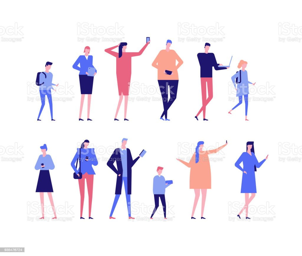 People with gadgets - flat design style set of isolated characters royalty-free people with gadgets flat design style set of isolated characters stock illustration - download image now