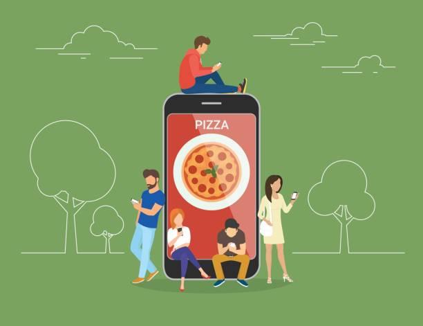 bildbanksillustrationer, clip art samt tecknat material och ikoner med personer med prylar som använder smartphones utomhus för att beställa pizza online - on demand