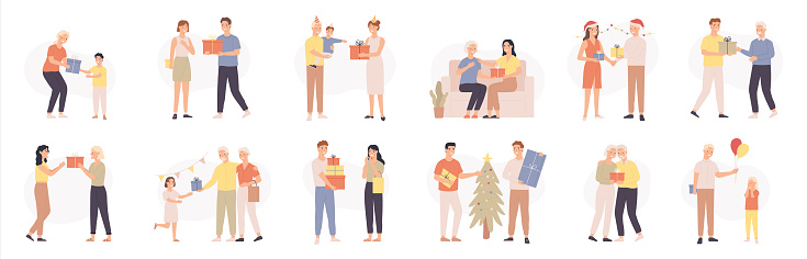 People with gifts. Various characters give and receive gift, romantic surprise, happy persons celebrating holidays, cartoon vector set