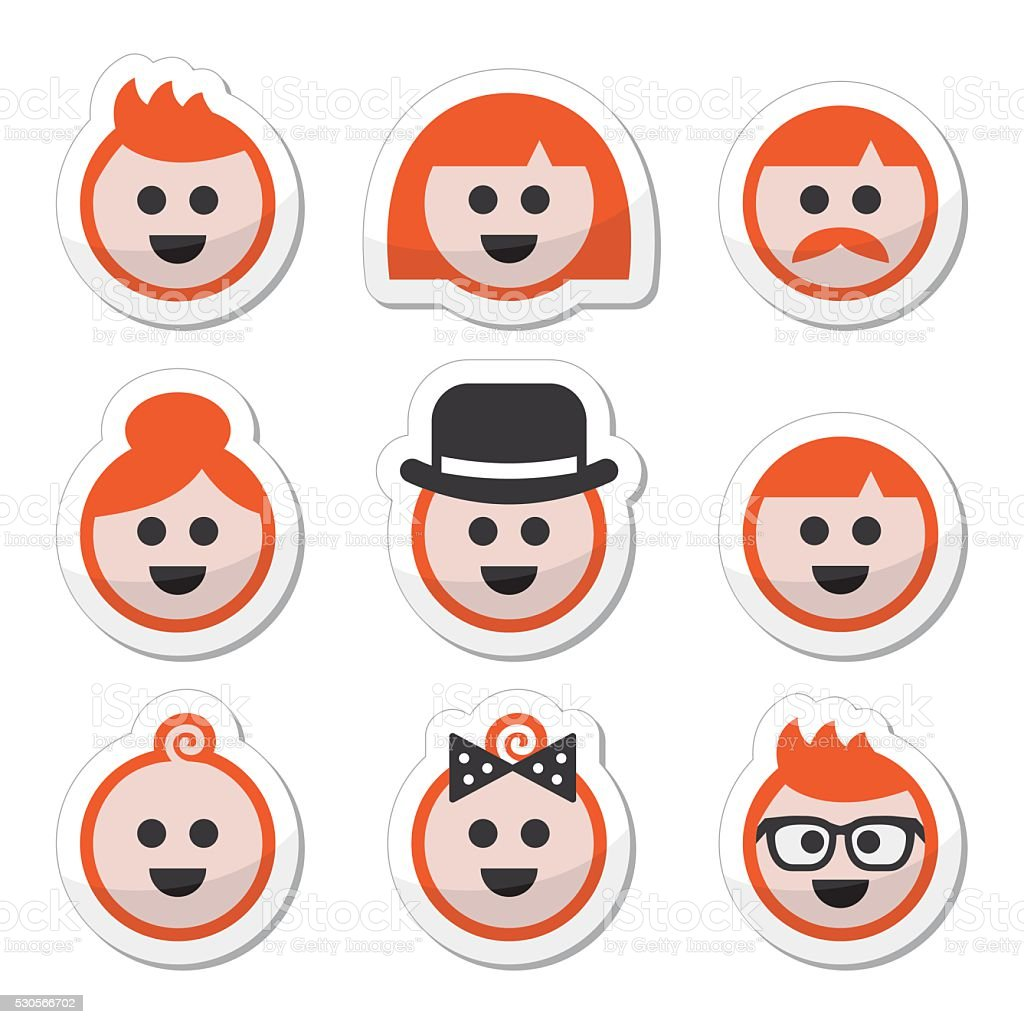 People with ginger vector hair icons set vector art illustration