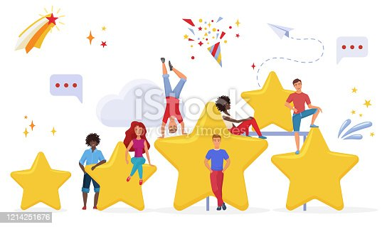 1130633985 istock photo People with golden cartoon stars flat vector illustration. Users evaluating app performance. Customers giving feedback cartoon characters. Measuring consumers satisfaction with rating system 1214251676