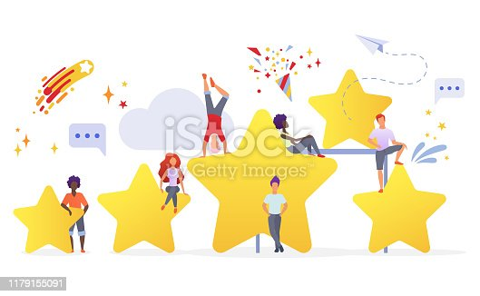 1130633985 istock photo People with golden stars flat vector illustration. Users evaluating app performance. Customers giving feedback cartoon characters. Measuring consumers satisfaction with rating system. 1179155091