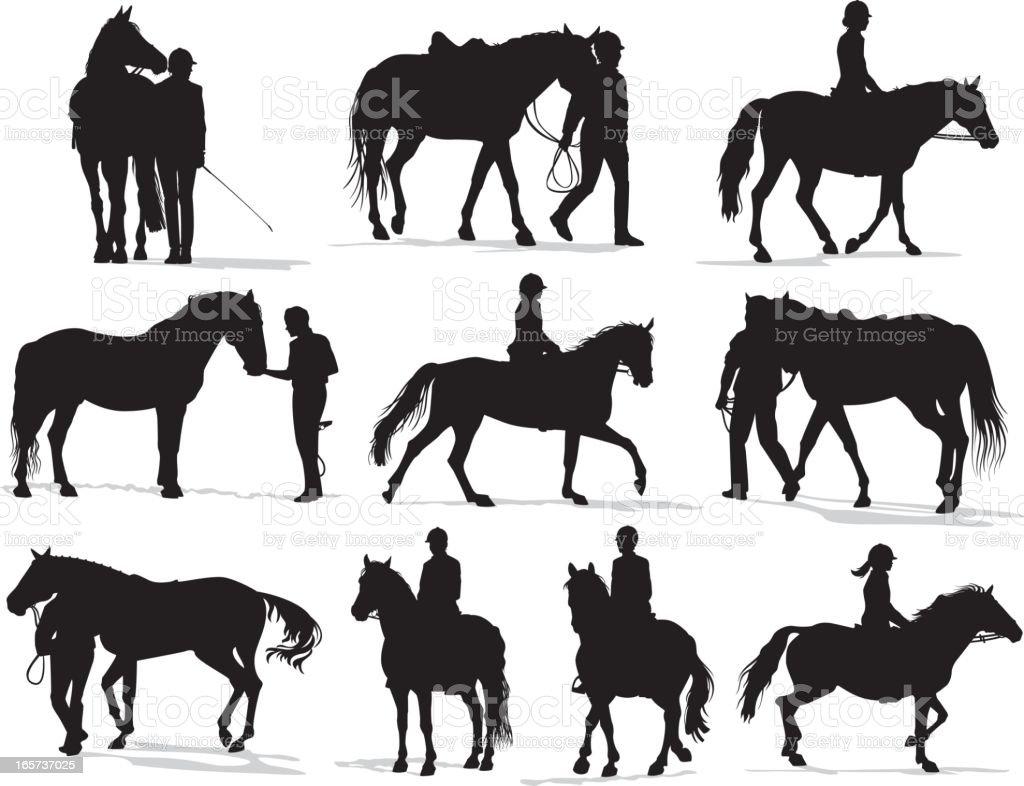Personas con caballos Silueta de - ilustración de arte vectorial