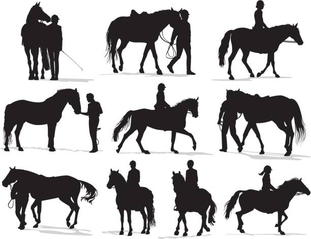 People with horses Silhouette Set vector art illustration