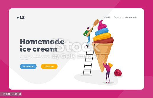 People with Icecream Landing Page Template. Tiny Female Character Holding Huge Ice Cream in Waffle Cone Man on Eat with Spoon. Summer Food, Delicious Dessert, Cold Treat. Cartoon Vector Illustration