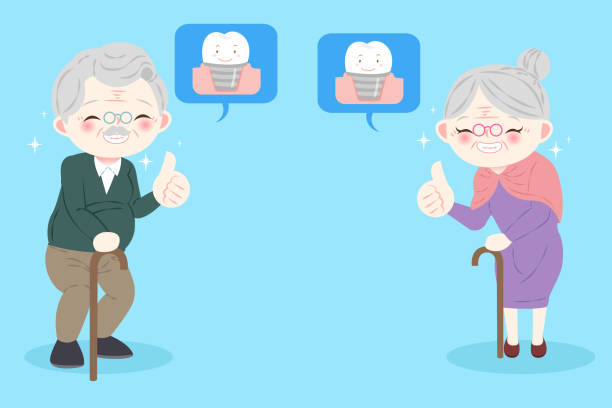 people with implants tooth - old man showing thumbs up cartoons stock illustrations, clip art, cartoons, & icons