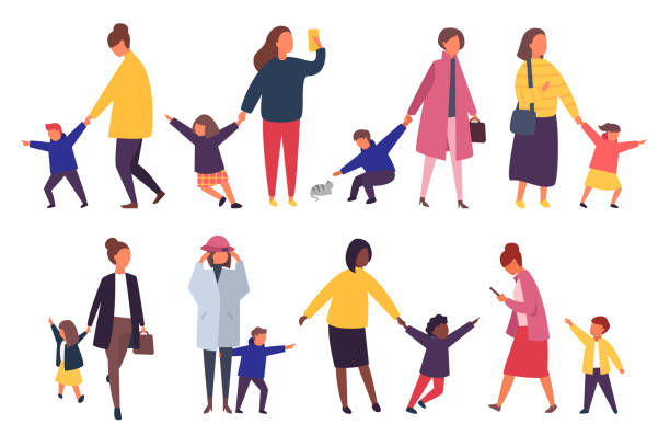 people with kids. busy parents with naughty children. vector illustration. - babysitter stock illustrations, clip art, cartoons, & icons