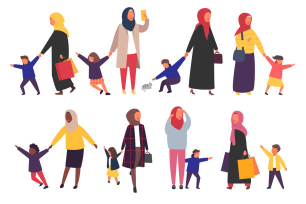 People with kids. Busy parents with naughty children. Vector illustration. Muslim women with kids. Busy tired parents with naughty children set. Vector characters illustration. religious veil stock illustrations