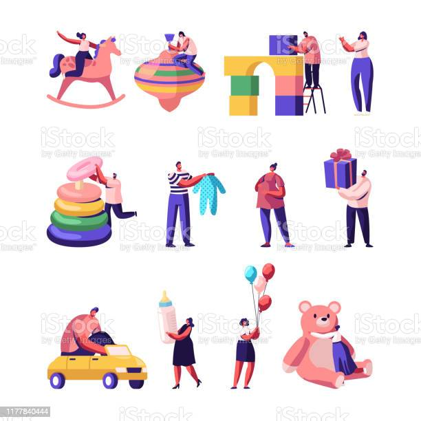 People with kids toys and stuff set tiny male and female characters vector id1177840444?b=1&k=6&m=1177840444&s=612x612&h=qw q ypmbl vubbnfqohmmd4udk1 xso5uzgeewcghs=