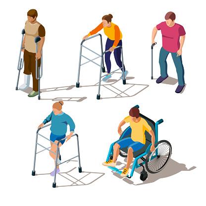People with leg injuries, bone breaks