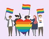 People with LGBTQ rainbow flags illustration