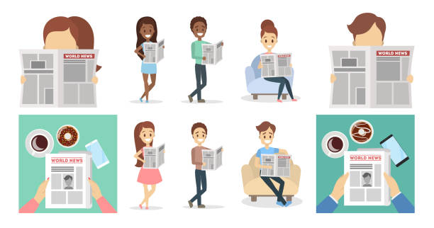 People with newspapers People with newspapers reading and holding set. reading stock illustrations