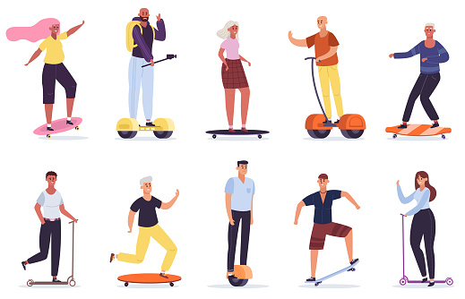 People with personal vehicles. Eco friendly transport devices, man and woman riding skateboard, kick scooter and segway vector illustration set
