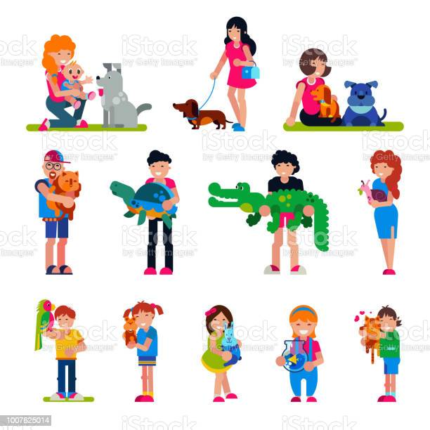 People with pet vector woman or man and children playing or hugging vector id1007625014?b=1&k=6&m=1007625014&s=612x612&h=xegd23lqowez kcgruyoqtkggyxqh3i8dhzyhkoisse=