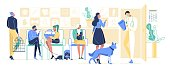 People with Pets Come to Veterinary Clinic for Treatment. Men and Women Characters with Cats, Dogs, Parrot Waiting Doctor Appointment. Animals Hospital, Medicine. Cartoon Flat Vector Illustration