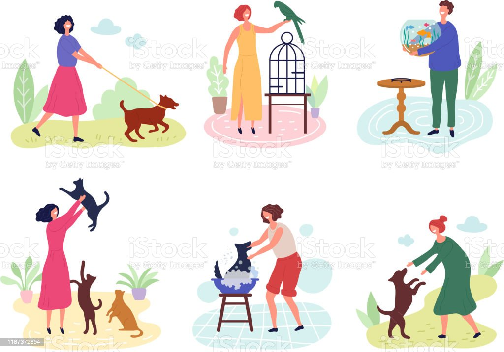 People with pets. Dog cats fishes birds rabbits love for domestic...