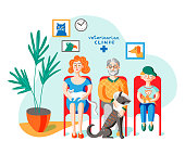 People with pets in vet clinic flat illustration. Woman holding cat, sitting in hospital waiting room. Senior man with injured dog. Cartoon boy with rat in medical center hall. Characters in queue