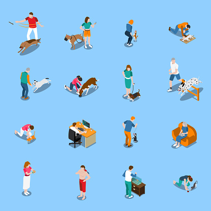 people with pets isometric