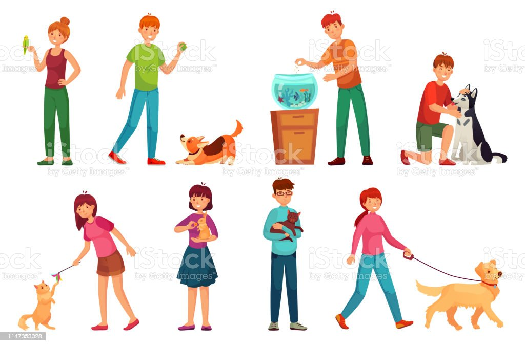 People with pets. Playing with dog, happy pet and dogs owners. Animal...