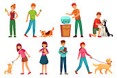 People with pets. Playing with dog, happy pet and dogs owners. Animal lovers, domestic rabbit, cats or animals owner characters hugging pets. Cartoon vector illustration isolated icons set