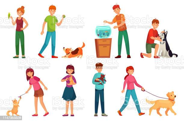 People with pets playing with dog happy pet and dogs owners cartoon vector id1147353328?b=1&k=6&m=1147353328&s=612x612&h=nhotin6p3vkyofqlkm tfrkpyblg8jvdtcbmbxjnk38=