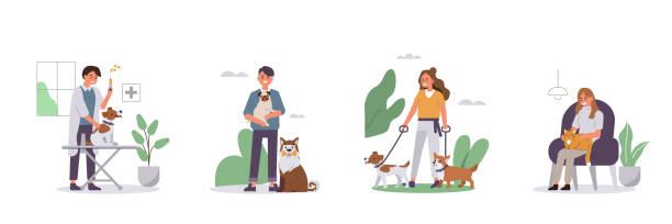 stockillustraties, clipart, cartoons en iconen met mensen met huisdieren - teenager animal