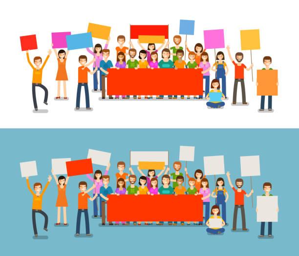 bildbanksillustrationer, clip art samt tecknat material och ikoner med people with placards on demonstration. holiday, celebration, festivity vector illustration - parad