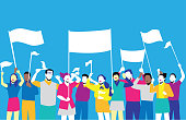 Illustration of basic colors, simple, people without faces, with raised arms.\n\nThis illustration is made in vectors and it is easy to change colors and adapt to any size.\n\nThe text balloons, flags and people can move position, add or remove