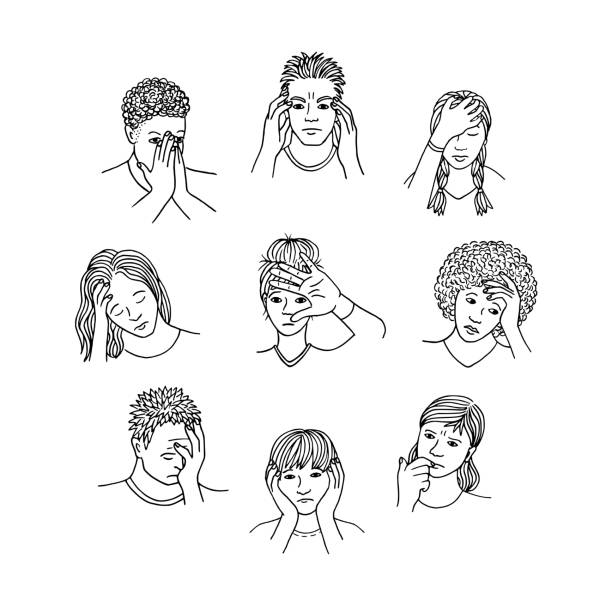 People with sad and depressed faces vector art illustration