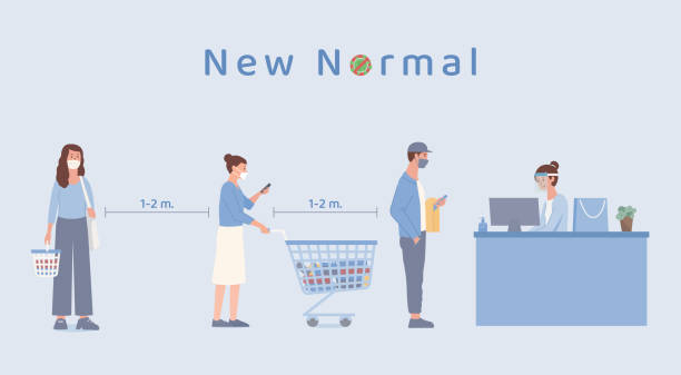 People with shopping cart and holding basket standing standing in queue in the supermarket for waiting payment at counter cashier. The new normal about prevent Covid-19 spread. vector art illustration