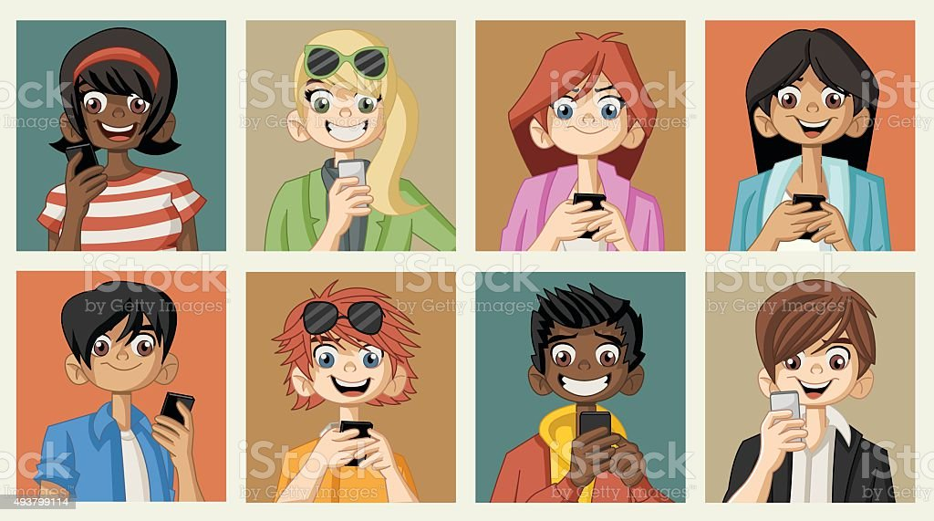 people with smart phones. vector art illustration