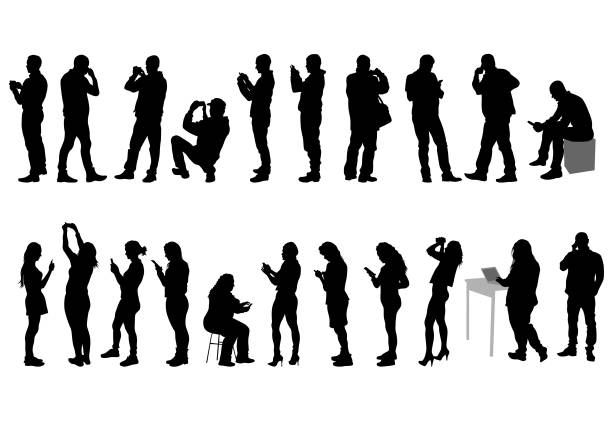 People with smartphone Young woman and man with phone on a white backgroun silhouette people stock illustrations