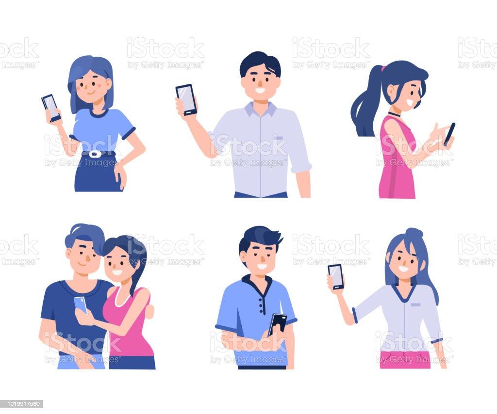 people with smartphones vector art illustration