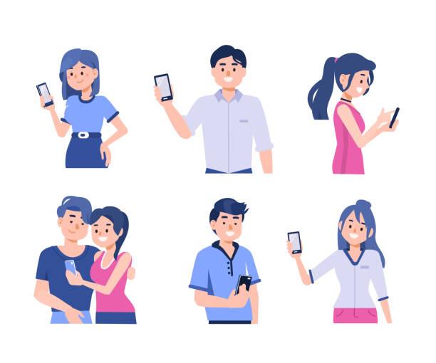menschen mit smartphones - weiblicher teenager stock-grafiken, -clipart, -cartoons und -symbole