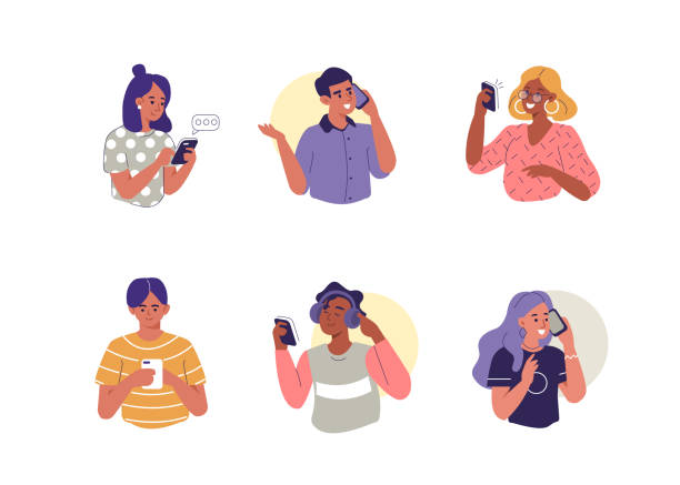 stockillustraties, clipart, cartoons en iconen met mensen met smartphones - talking