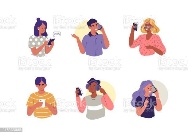 Les Personnes Avec Des Smartphones Vecteurs libres de droits et plus d'images vectorielles de Adolescent