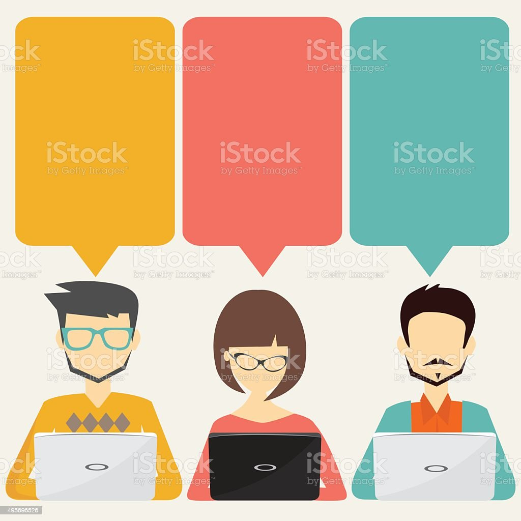 people with speech bubbles and laptop, teamwork, infographic  concept vector art illustration