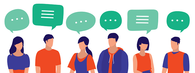 People With Speech Bubbles. Young Men And Women Communicate With One Another. Social Media, Communication And Business Networking Concept. Vector Flat Cartoon Illustration.