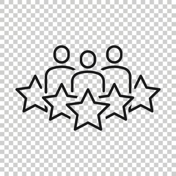 People with stars icon in flat style. Businessman rating vector illustration on white isolated background. Quality information business concept. People with stars icon in flat style. Businessman rating vector illustration on white isolated background. Quality information business concept. expertise stock illustrations