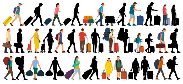 People with suitcases and bags. Isolated set on a white background. Vector silhouette illustration People with suitcases and bags. Isolated set on a white background. Vector silhouette illustration airport borders stock illustrations