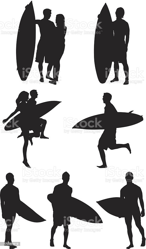 People with surfboards royalty-free people with surfboards stock vector art & more images of activity