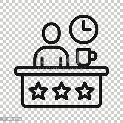 People with table lamp and clock icon in flat style. Coworking space vector illustration on white isolated background. Freelancer workplace  business concept.