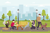 People with their pets in the park. People take care of their dogs. Beautiful green park, People walking with their dog. Owner and their pets - Vector illustration