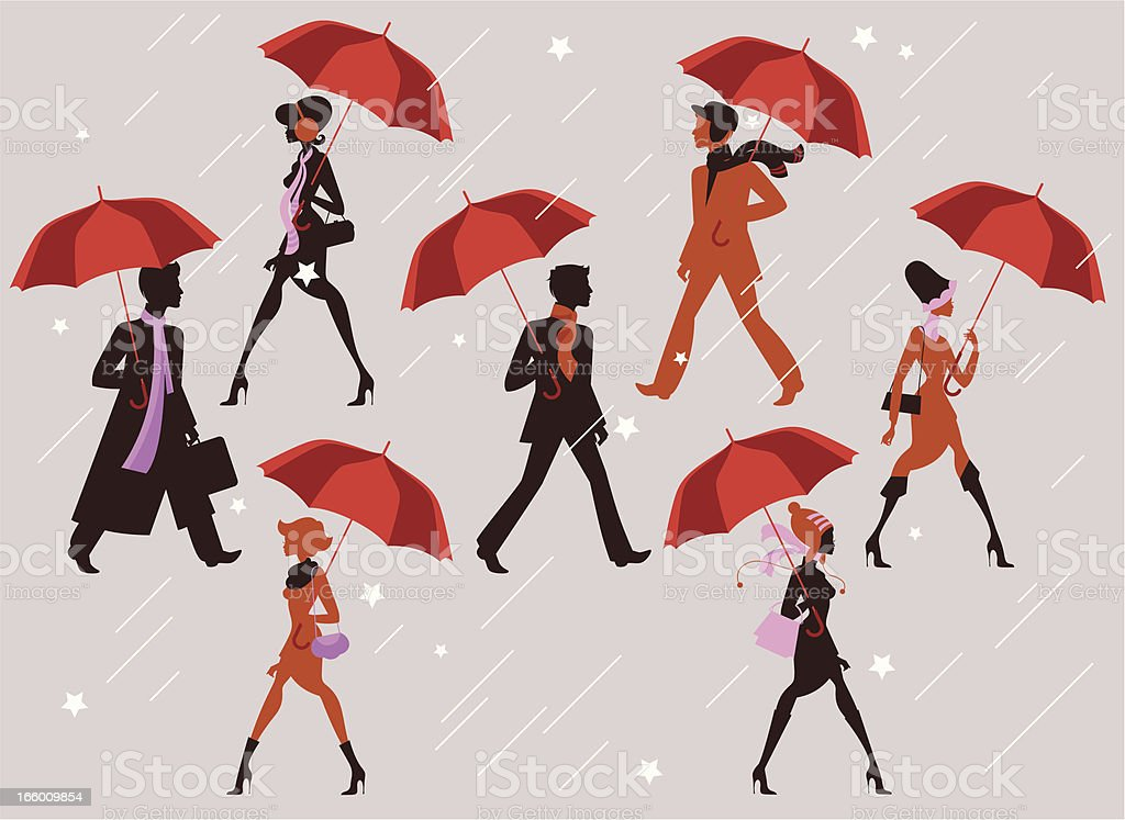 People with their umbrellas. royalty-free stock vector art