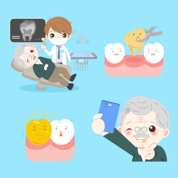 people with tooth implant - old man funny pictures stock illustrations, clip art, cartoons, & icons