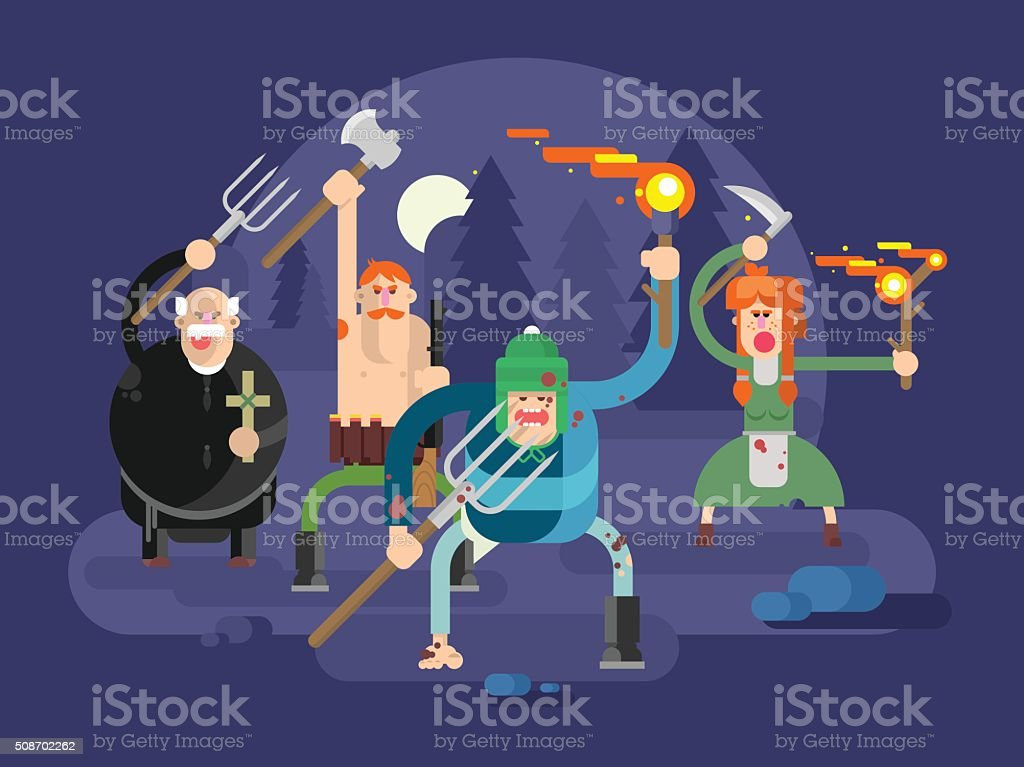 People with torches and pitchforks vector art illustration