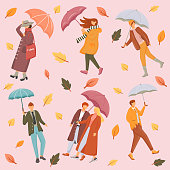 People with umbrellas flat vector seamless pattern. Pink background. Seasonal wear. Autumn leaves texture with cartoon color icons. Rainy and windy weather wrapping paper, wallpaper design